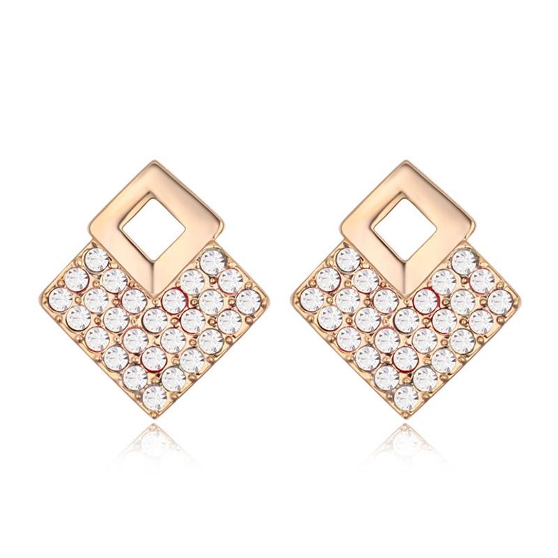 Boucles d'oreilles dorées or  jaune, Email et cristal Swarovski, Marbella