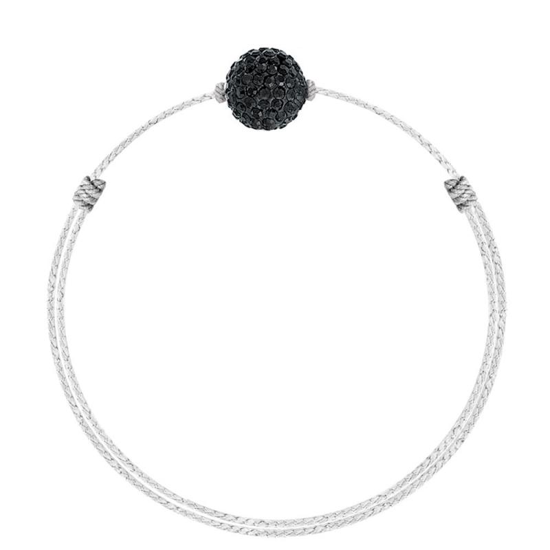 Bracelet coton ciré Mokuba, argent, cristal Swarovski, Crystal Glam B&W