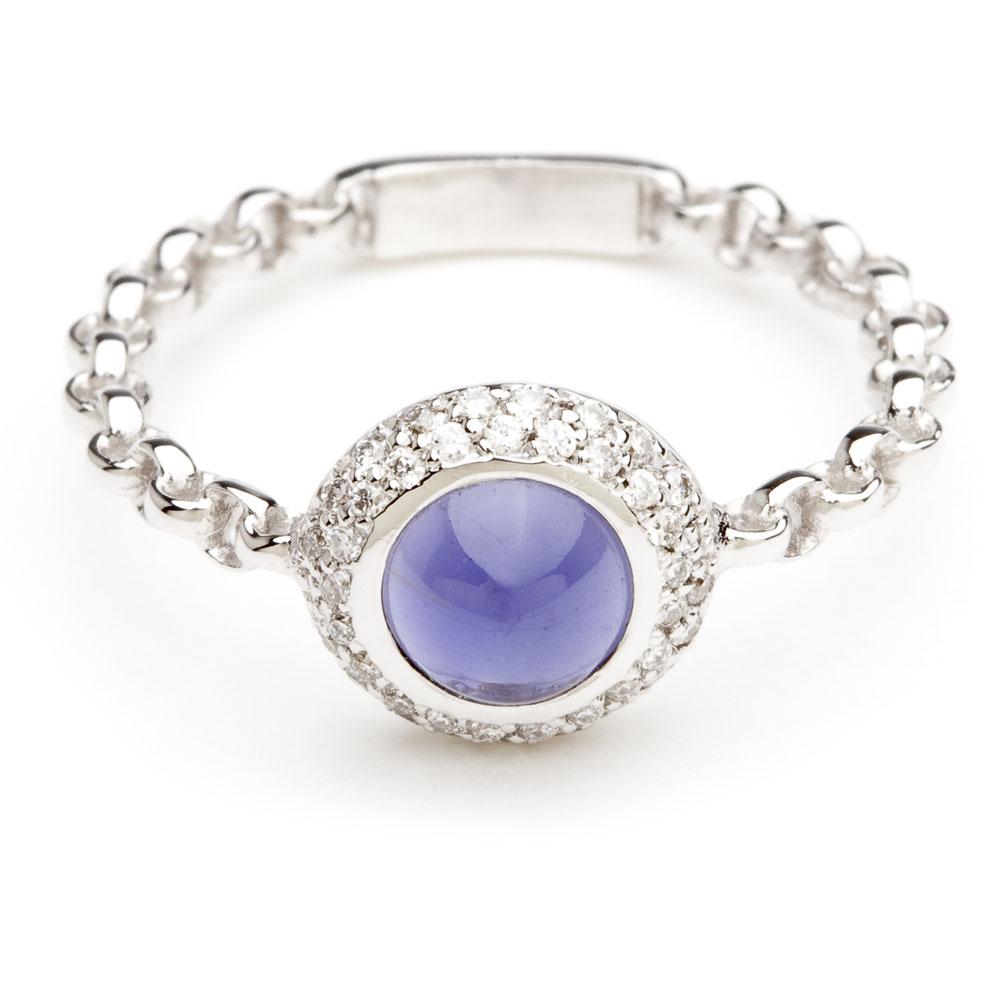 bague chaine rigide en or blanc diamants et iolite diveene joaillerie bague pierre bleue