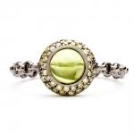bague chaine rigide en or noir diamants verts et peridot diveene joaillerie bague pierre verte