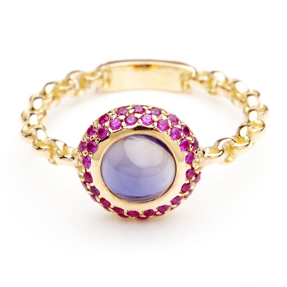 bague chaine rigide en or rose saphirs roses et amethyste diveene joaillerie bague pierre violet