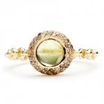 bague chaine rigide en or rose diamants et peridot diveene joaillerie bague pierre verte