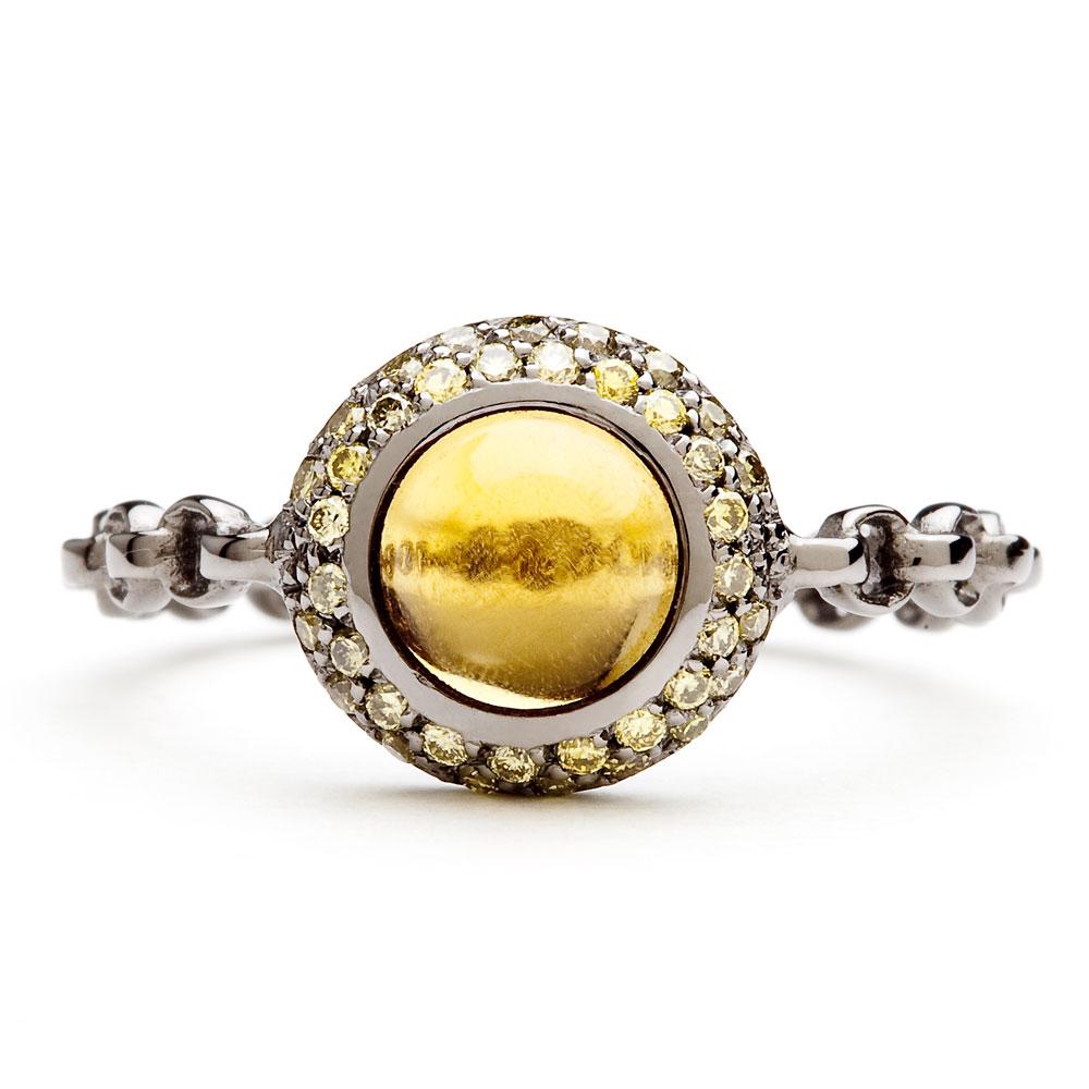 bague chaine rigide en or noir diamants verts et citrine palmaira diveene joaillerie bague pierre jaune
