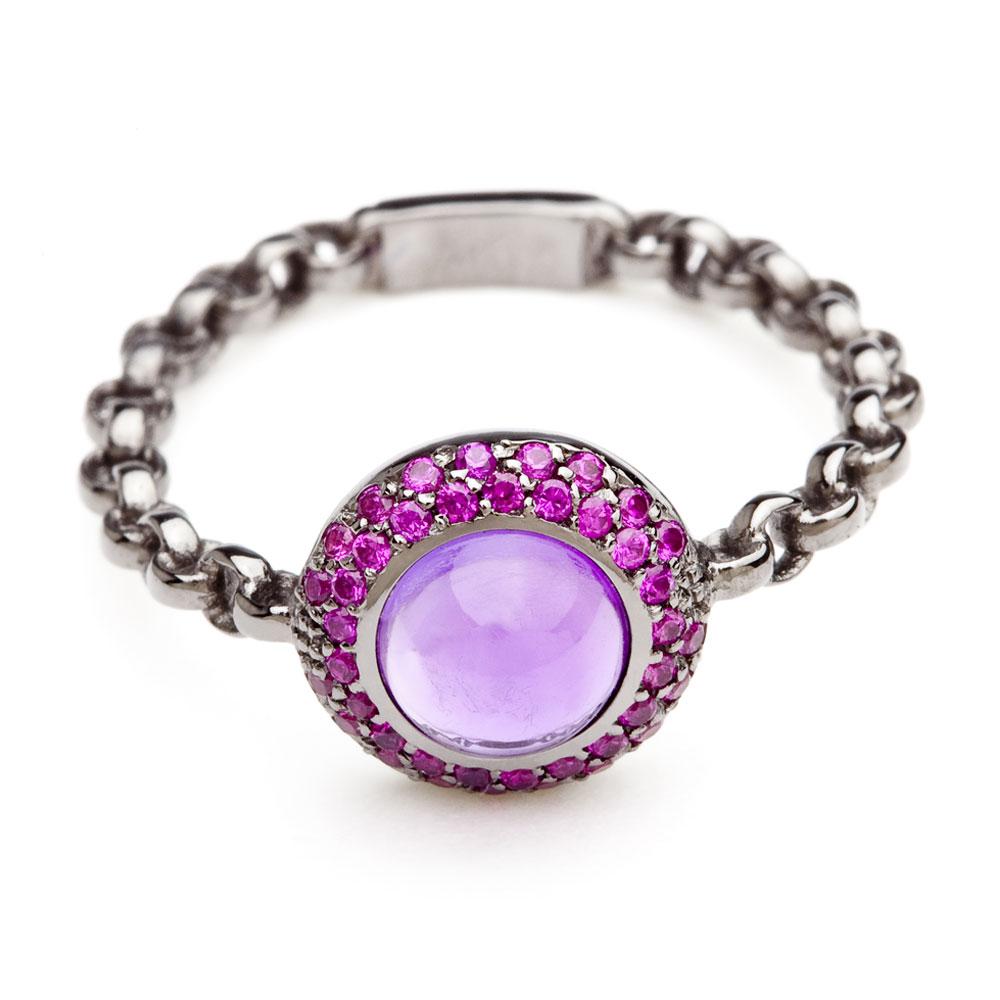 bague chaine rigide en or noir saphirs roses et amethyste diveene joaillerie bague pierre violet