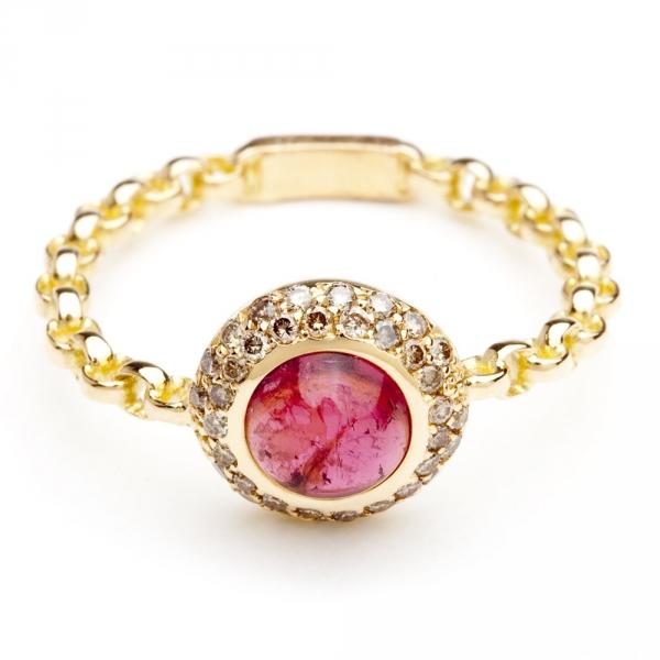 bague chaine rigide en or rose diamants et tourmaline diveene joaillerie bague pierre rouge