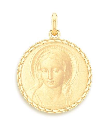 medaille bapteme naissance or jaune 17 mm vierge amabilis diveene joaillerie