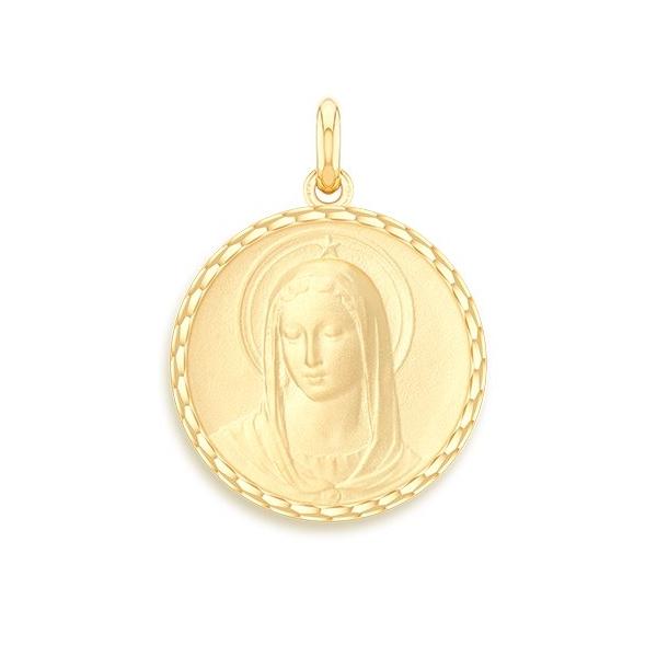 medaille bapteme naissance or jaune 17 mm vierge maris stella diveene joaillerie