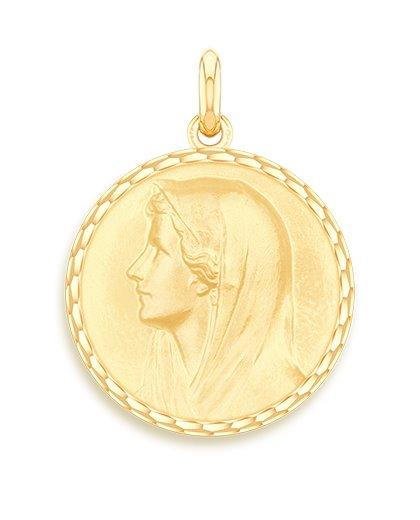 medaille bapteme naissance or jaune 17 mm vierge au voile diveene joaillerie