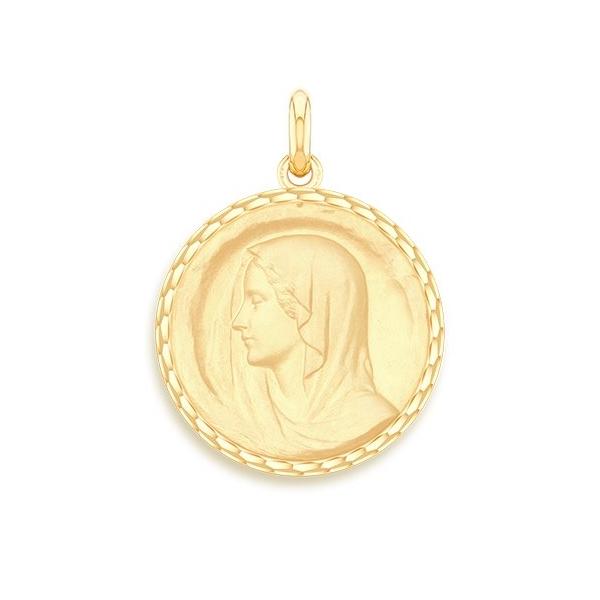 medaille bapteme naissance or jaune 17 mm vierge regina diveene joaillerie