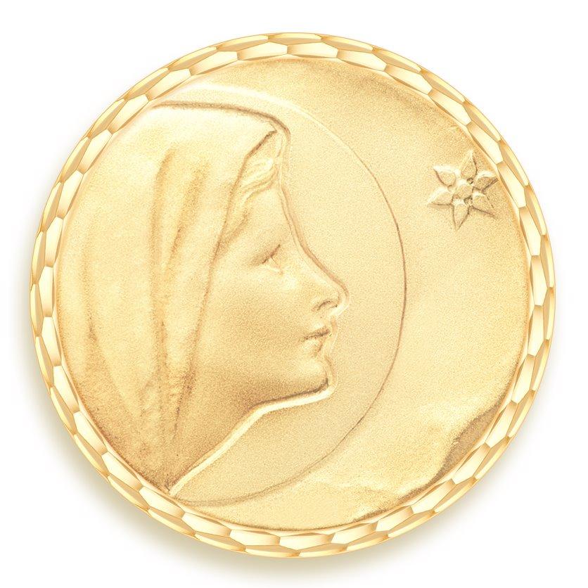 medaille bapteme naissance or jaune 17 mm vierge de bethleem diveene joaillerie