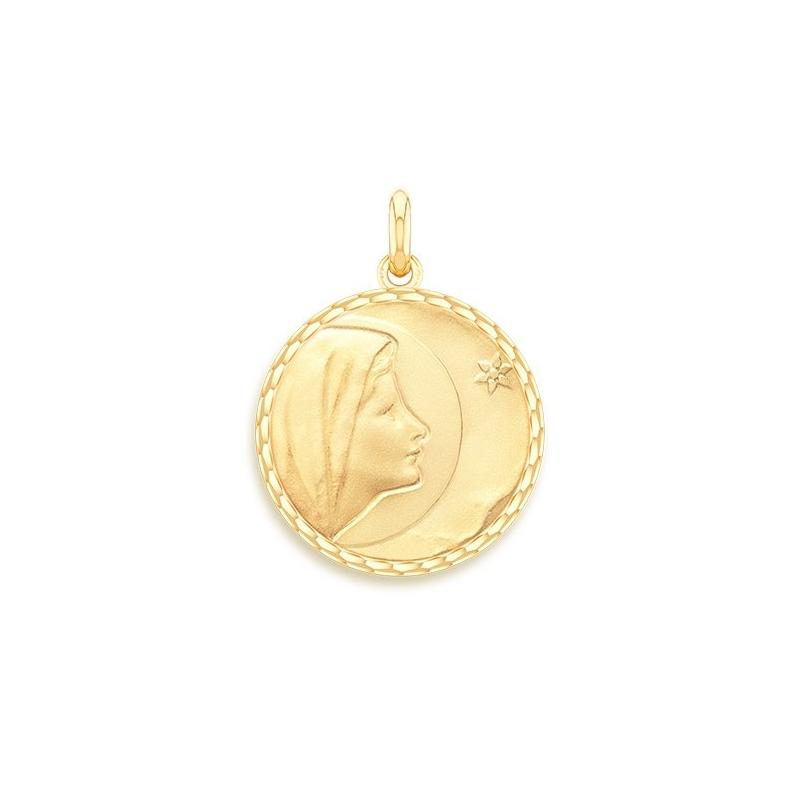 Médaille Baptême Naissance Or jaune , Vierge de Bethléem