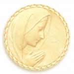 medaille bapteme naissance or jaune 17 mm vierge en priere diveene joaillerie