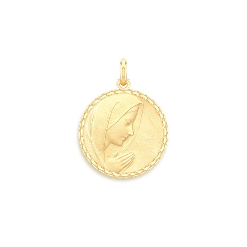 Médaille Baptême Naissance Or jaune , Vierge en Prière