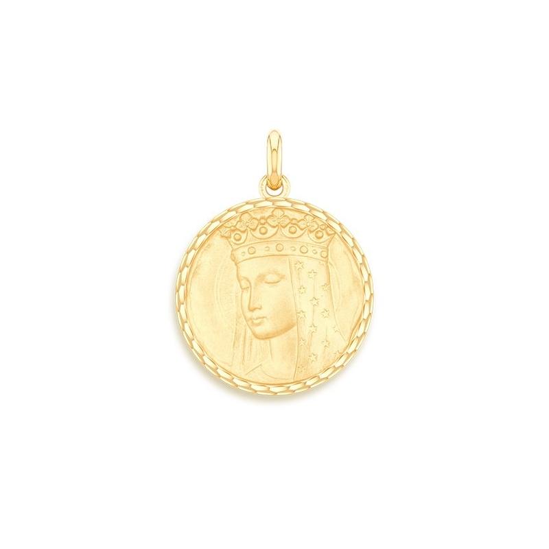 Médaille Baptême Naissance Or jaune , Vierge Aux Etoiles