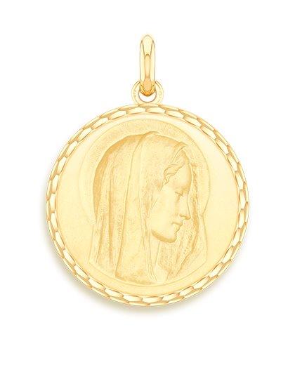 medaille bapteme naissance or jaune 17 mm virgo dulcis diveene joaillerie
