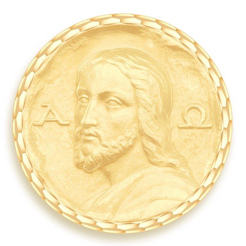 medaille bapteme naissance or jaune 17 mm christ des catacombes diveene joaillerie