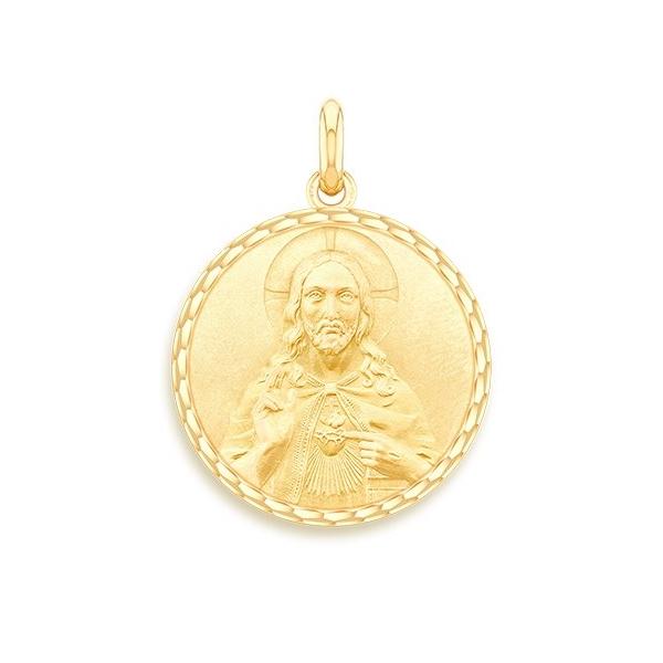 medaille bapteme naissance or jaune 17 mm christ sacre coeur diveene joaillerie
