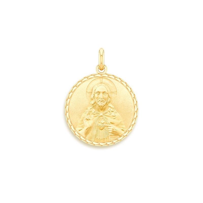 Médaille Baptême Naissance Or jaune , Christ Sacré Coeur