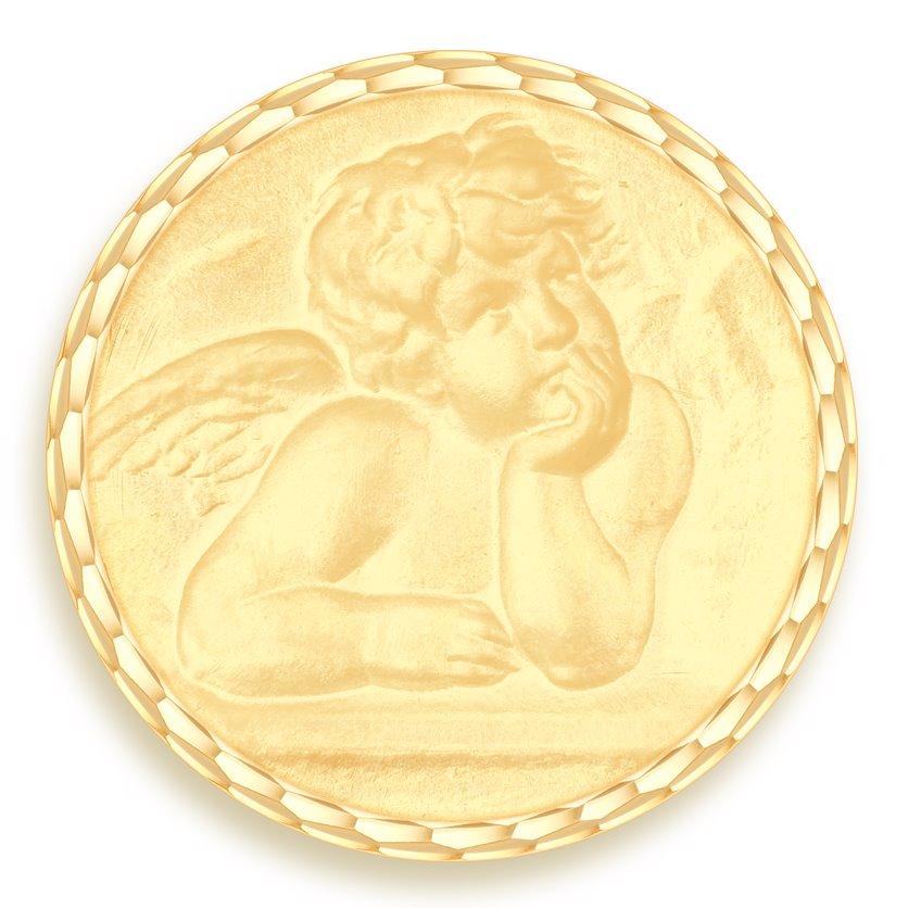 medaille bapteme naissance or jaune 17 mm ange raphael diveene joaillerie