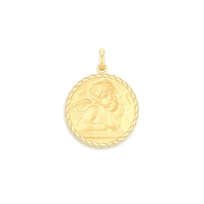 Médaille Baptême Naissance Or jaune , Ange Raphaël