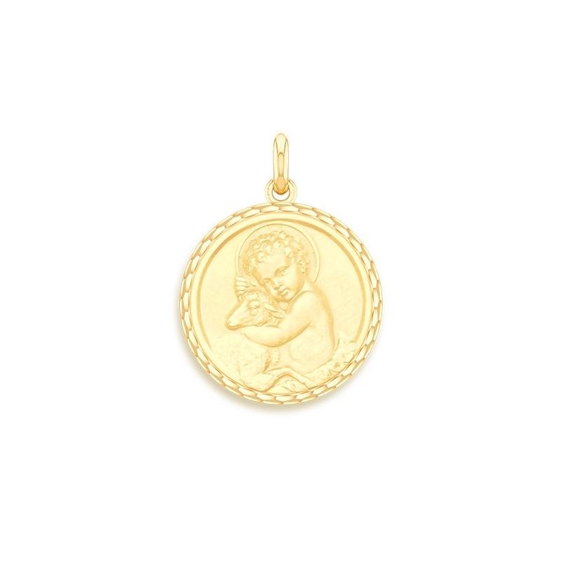 Médaille Baptême Naissance Or jaune , Enfant Jésus
