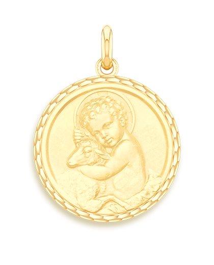 medaille bapteme naissance or jaune 17 mm enfant jesus diveene joaillerie