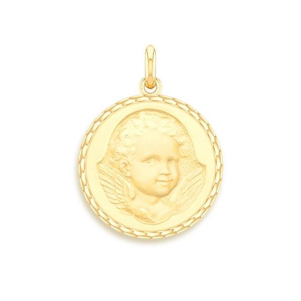 medaille bapteme naissance or jaune 17 mm ange espiegle diveene joaillerie