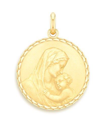 medaille bapteme naissance or jaune 17 mm maternité diveene joaillerie