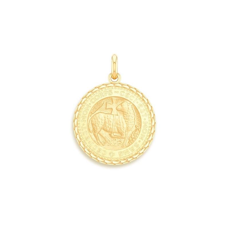 Médaille Baptême Naissance Or jaune , Agneau Mystique