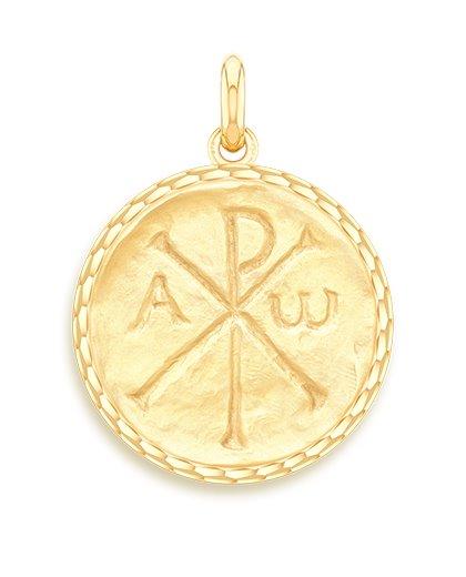 medaille bapteme naissance or jaune 17 mm chrisme diveene joaillerie