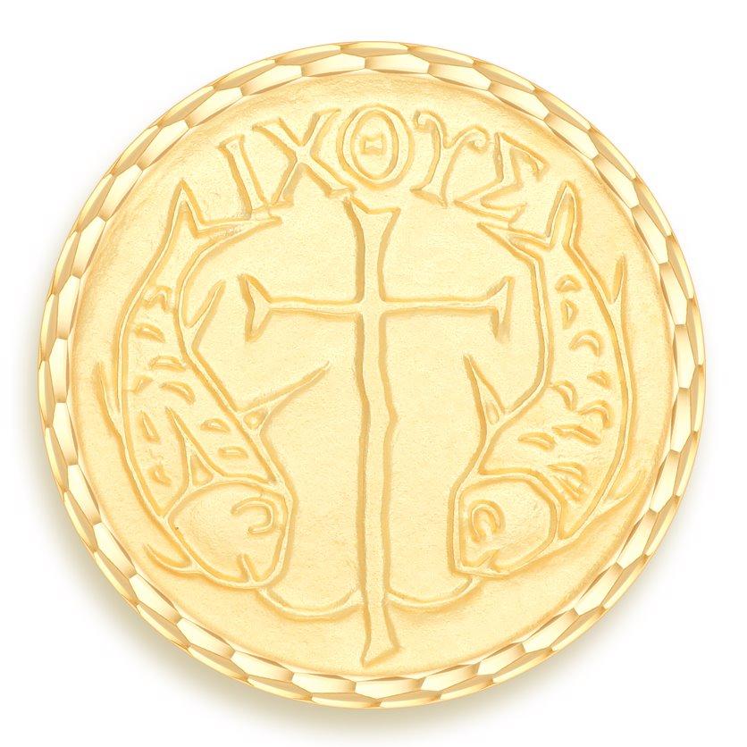 medaille bapteme naissance or jaune 17 mm poissons diveene joaillerie