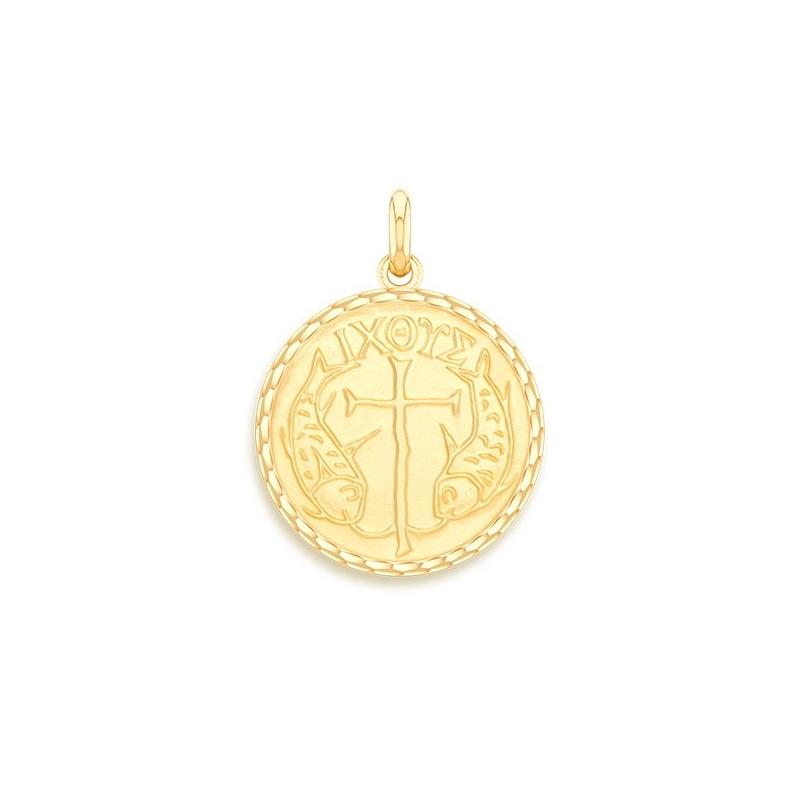 Médaille Baptême Naissance Or jaune , Poissons