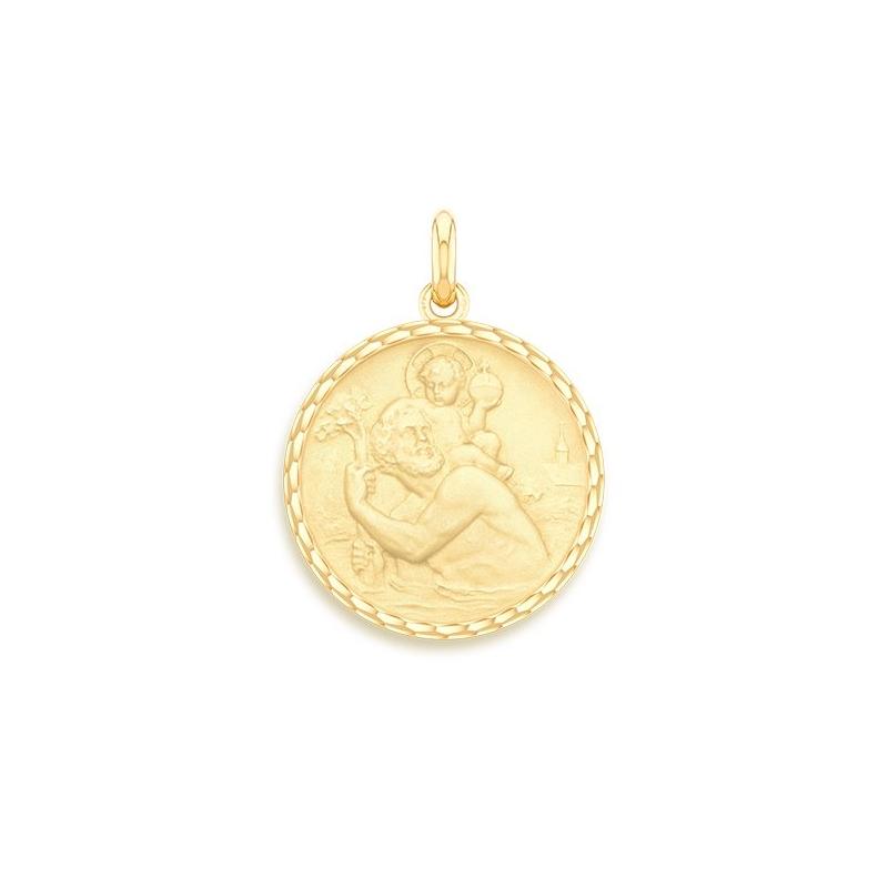 Médaille Baptême Naissance Or jaune , Saint Christophe