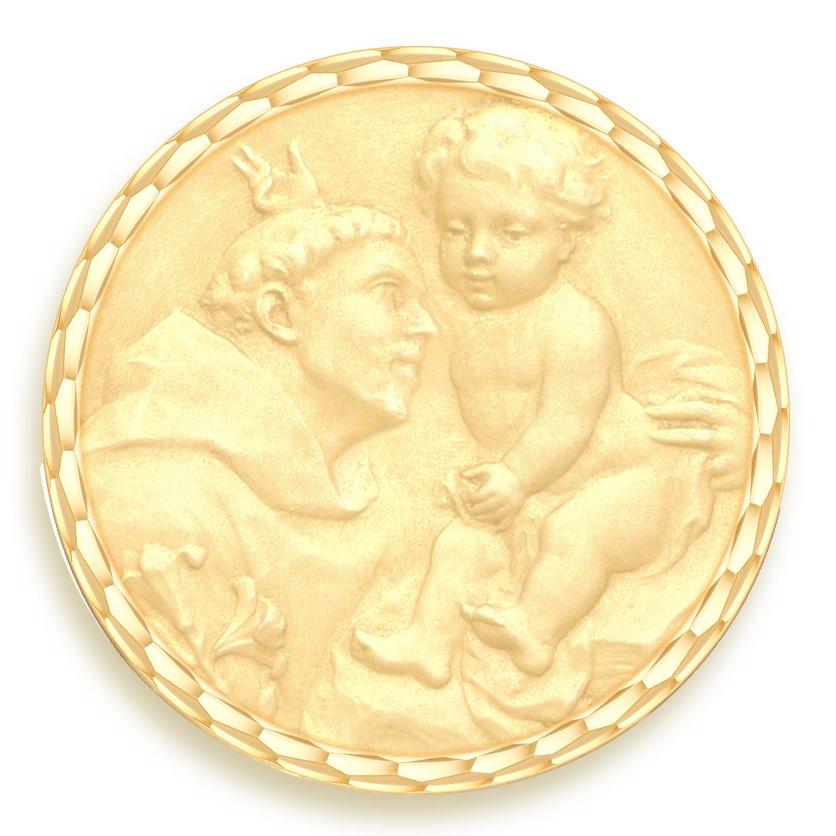 medaille bapteme naissance or jaune 17 mm saint antoine de padoue diveene joaillerie