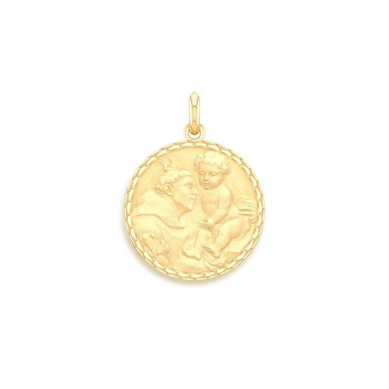 Médaille Baptême Naissance Or jaune , Saint Antoine de Padoue