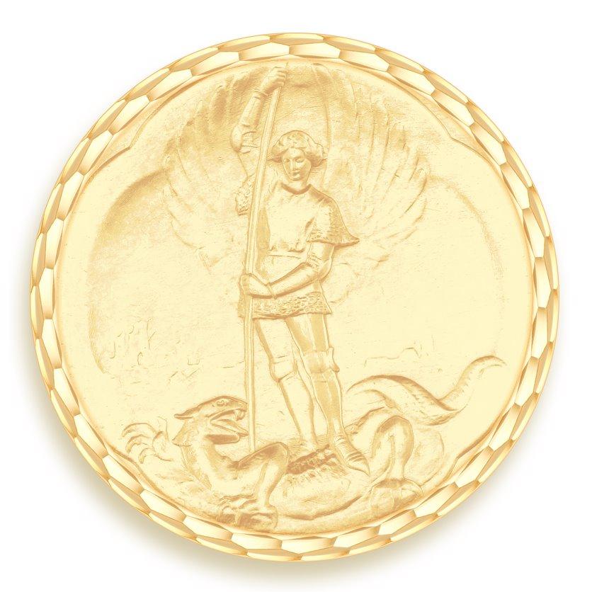 medaille bapteme naissance or jaune 17 mm saint michel diveene joaillerie