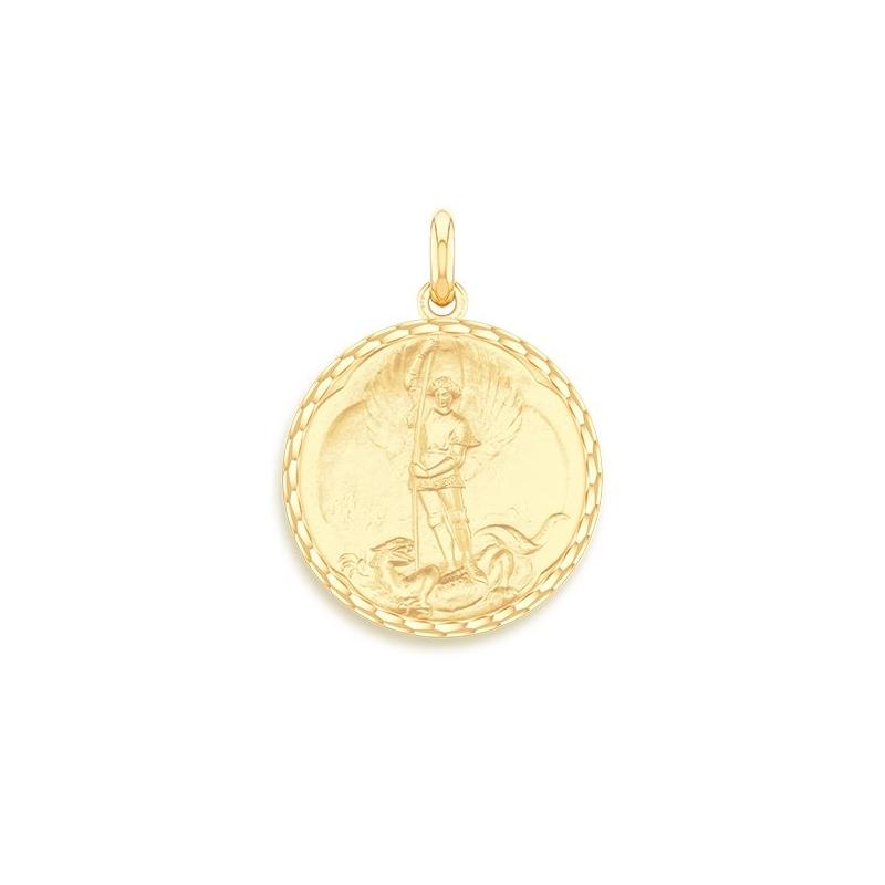 Médaille Baptême Naissance Or jaune , Saint Michel