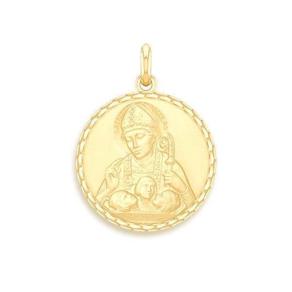 medaille bapteme naissance or jaune 17 mm saint nicolas diveene joaillerie