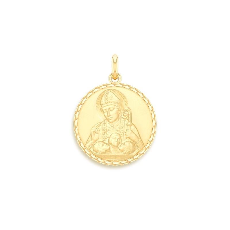 Médaille Baptême Naissance Or jaune , Saint Nicolas