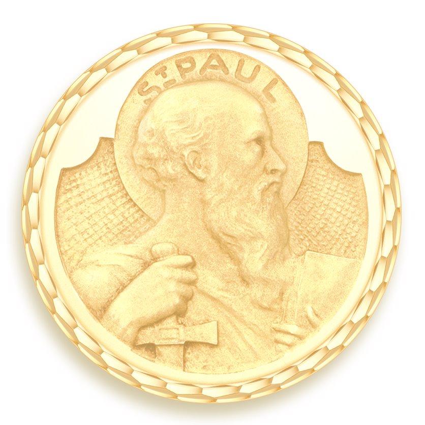 medaille bapteme naissance or jaune 17 mm saint paul diveene joaillerie