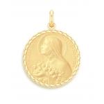 medaille bapteme naissance or jaune 17 mm sainte therese diveene joaillerie