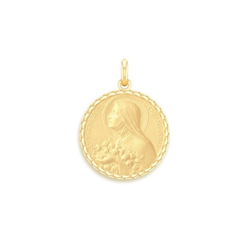 Médaille Baptême Naissance Or jaune , Sainte Thérèse