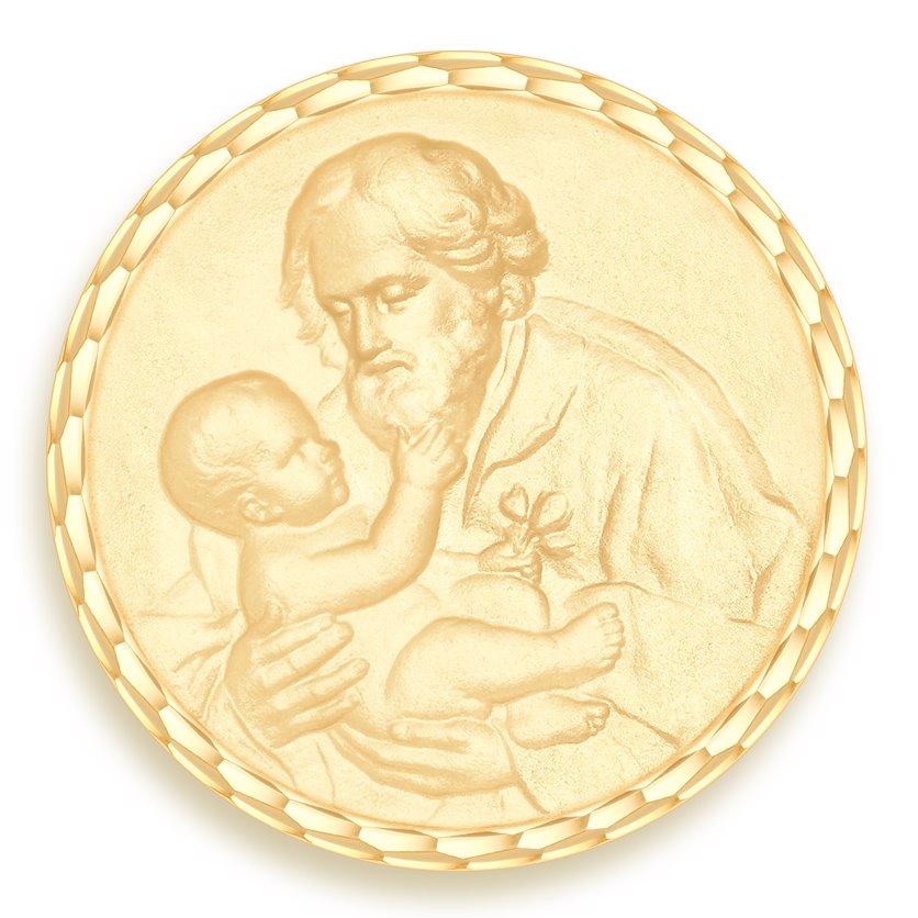 medaille bapteme naissance or jaune 17 mm saint joseph diveene joaillerie