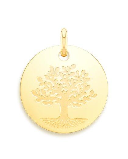 medaille bapteme naissance or jaune 17 mm arbre de la vie diveene joaillerie