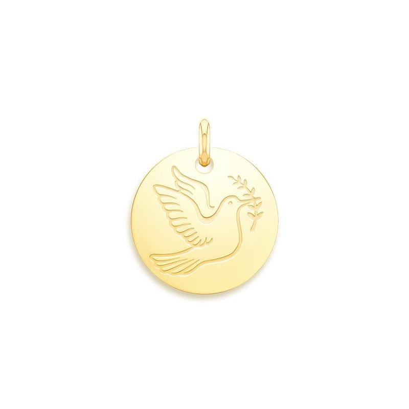 Médaille Baptême Naissance Or jaune , Colombe de la paix