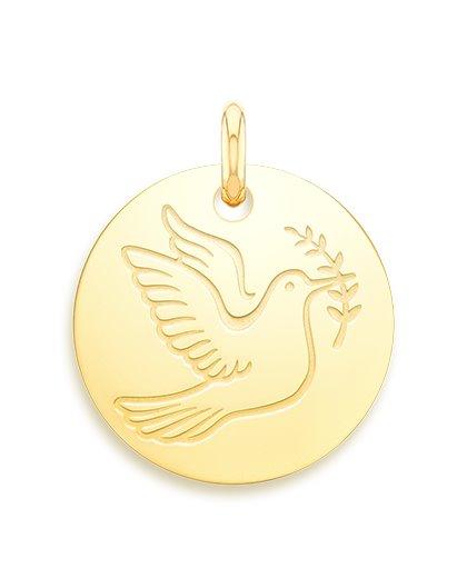 medaille bapteme naissance or jaune 17 mm colombe de la paix diveene joaillerie