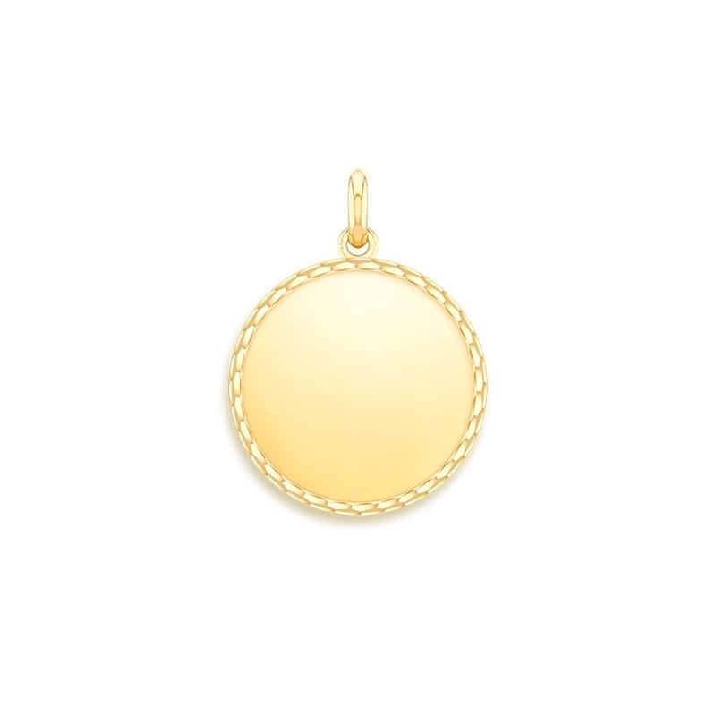 Médaille Or jaune , Disque Poli Ajouré à graver