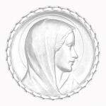 medaille bapteme naissance or blanc 17 mm annonciation diveene joaillerie