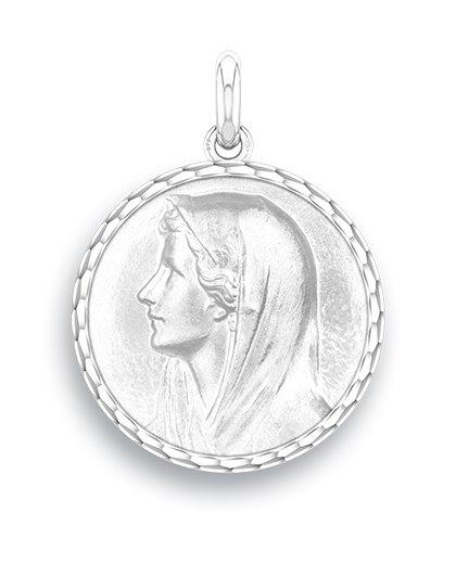 medaille bapteme naissance argent 17 mm vierge au voile diveene joaillerie