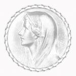 medaille bapteme naissance or blanc 17 mm vierge au voile diveene joaillerie